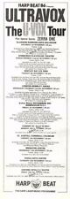 "1/11/86pg33 Concert Tour Dates Advert 10x3"" Ultravox & Zerra One"