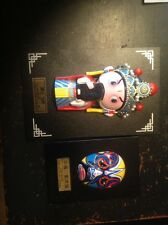 two pcs. chinese framed figurines (lie bei and mask sichuan opera)