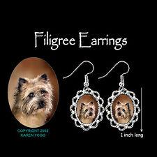 Cairn Terrier Dog - Silver Filigree Earrings Jewelry