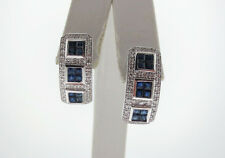 Natural Blue Sapphires (1.68tcw) Genuine Diamonds Solid 14K White Gold Earrings