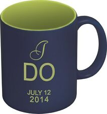 Personalized Laser Engraved COFFEE MUG - Navy Blue & Green - Choose your Design