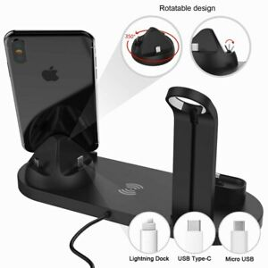 Fast Charging Stand Wireless Charger 4 In 1 Charger Dock Phone Charging Station