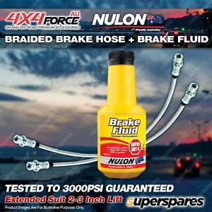 2 Rear Braided L+R Brake Hoses + Nulon Fluid for Mitsubishi Triton ML MN 06-On