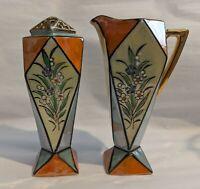 Vintage Lusterware Art Deco Creamer & Sugar Shaker - Florals - Muffineer Japan