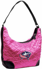 NEW COLUMBUS BLUE JACKETS Pink Quilted Hobo Bag PURSE By Little Earth NHL Hockey