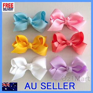 """24 Colors NEW 3"""" Hair Clip Alligator Baby Toddler Girl Kids Grosgrain Ribbon Bow"""