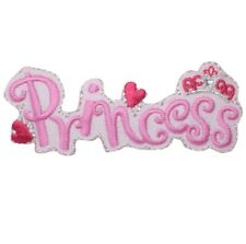 Princess Applique Patch - Pink with Hearts (Iron on)