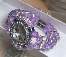 Handmade Watch Bracelet Lavender Crystal Bead Silver Accent Magnet Closure w/Box