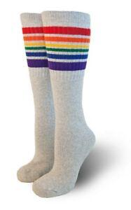 Pride Socks Gray Rainbow Under the Knee Tube Socks Happy