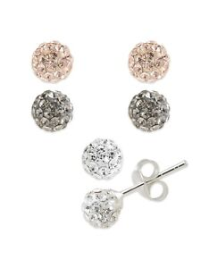 6mm Round Crystal Pave Disco Ball Stud Earrings Set Black, Rose Gold & White SS
