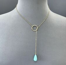 Gold finish Endless Chain Necklace Teardrop Turquoise Pendant