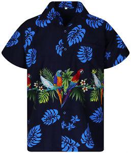 Funky Hawaiian Shirt Parrot Chest Print Blue
