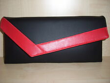 RED & BLACK asymmetrical faux leather clutch bag. Handmade in UK