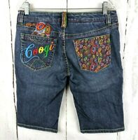 Womens COOGI Embroidered Denim Shorts 9/10 Bermuda Length Jeans Stretch