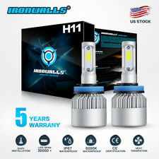 IRONWALLS H11 H9 LED Headlight Bulb Kit Lo Beam Fog Light 1300W 6000K 195000LM