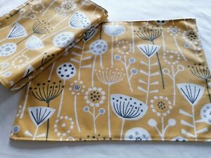Set of 4 Fabric placemats tablemat Bergen Ochre Yellow and Grey Scandi Flowers