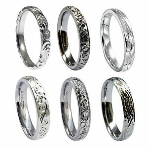 3mm Vintage Hand Engraved Wedding Rings 950 Platinum Court Comfort 6.5g UK HM