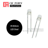 100pcs 3mm IR LED Diodes Water Clear Infrared 850nm Blub Transparent Lamp USA