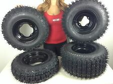 4 NEW Yamaha Raptor YFM660 660 Black Aluminum Rims & MASSFX Tires Wheels kit