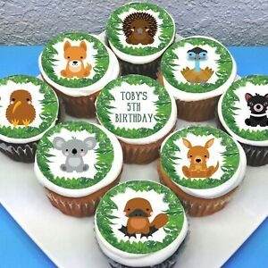 Australian Animals Pre-cut Edible Cupcake Toppers - Sheet of 15