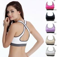 Women Padded Top Athletic Vest Gym Fitness Sports Bra Stretch Cotton Seamless