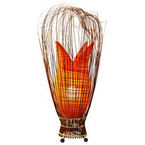 Orange Handmade Fabric Bud Tulip Lamp Floor or Table Fair Trade