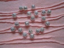 20 Silver Round Disco Balls Beads Lace Style for making Jewellery etc DIY BULK