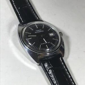 1977 Timex Automatic Wristwatch W/ Date -Silver Tone Black Dial - 47552 03277