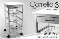 CARRELLO CUCINA H76*37 CM BIANCO LEGNO CASSETTO 3 CESTE PORTAFRUTTA RUOTE 675577