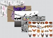 A4 Foolscap Stud Wallets Fashion Animal Designs - Pack 5