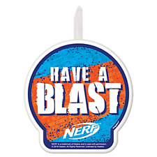 NERF CAKE CANDLE ~ Birthday Party Supplies Decoration Hasbro Orange Blue Baking