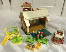 Vintage FISHER PRICE Little People #923 SCHOOL HOUSE PLAYSET Bus Accessories