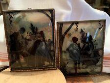 Pair Vintage Convex Bubble Glass Reverse Painted Silhouette Pictures, 6x5