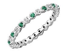 Creado anillo de esmeralda con diamantes 1/4 ct (quilates)
