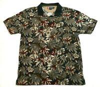 Chaps Ralph Lauren Mens XL Polo Golf Shirt Hawaiian Floral Black Green Red Brown