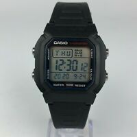 Casio Mens 3240 W-800H Stainless Steel Back Light Black Resin Watch