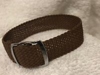 16mm Perlon Mesh Military 1960s Vintage Watch Band Silver Buckle, M0NI-M000