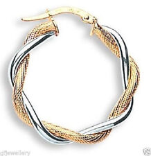 9CT HALLMARKED WHITE & YELLOW GOLD 27MM ROUND TWIST TEXTURED HOOP EARRINGS