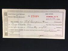 USED CERTIFICATE OF DEPOSIT ON MONEY ORDER ACCT ELMIRA NY P.O. 1899