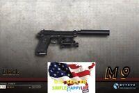 """1/6 Scale Black M9 Gun pistol w/ silencer For 12"""" Hot Toys Phicen Ganghood ❶USA❶"""