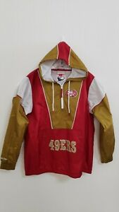 🔥🔥OFFICIAL SAN FRANCISCO 49ERS NFL MITCHELL NESS PULLOVER JACKET MENS LARGE🏈