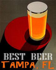 POSTER BEST BEER TAMPA FLORIDA BREWERIES PALE LAGER DRINK VINTAGE REPRO FREE S/H