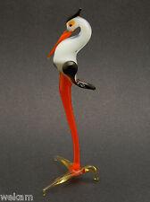 Glass Blown Art Figurine Animal HERON WHITE -RED Murano Style