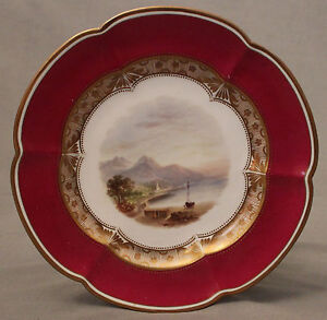 Set of Ten 19th C Staffordshire Hand Painted Plates Highland and Countryside