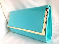 NEW PASTEL BLUE FAUX PATENT LEATHER EVENING CLUTCH BAG DAY WEDDING PROM CLUB