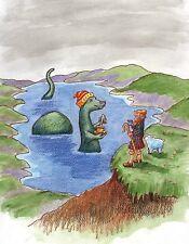 Metal Magnet Talking To Nessie Loch Ness Monster Fantasy Humor Magnet