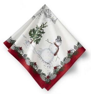 "8x WILLIAMS SONOMA Snowman Napkins 20"" square Christmas Holiday NWTS"