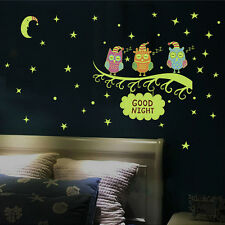 Removable Fluorescent Vinyl Art DIY Owl Wall Decal Stickers Bedroom Decor Murals