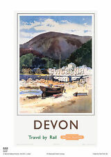 LYNMOUTH DEVON TRAVEL POSTER RETRO RAILWAY VINTAGE HOLIDAY ADVERTISING ART