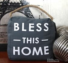 "Door Stop ""Bless This Home"" Canvas Doorstop Jute Rope Handle 1.5kg Grey Fabric"